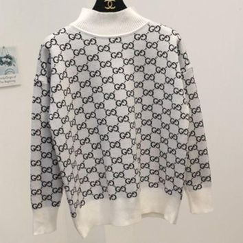 ONETOW GUCCI autumn and winter new high-necked knit sweater g letter g White
