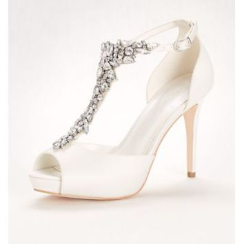 Crystal T-Strap Peep Toe High Heel - Davids Bridal