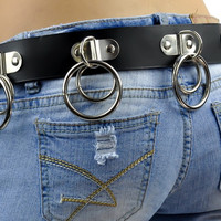Double O Ring Leather Belt with Hinged D Rings