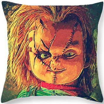 Bride of Chucky Cushion Horror Movie Throw Pillows Halloween Gift Cushion Murderers Child's Play Home Decorative for Sofa HH023