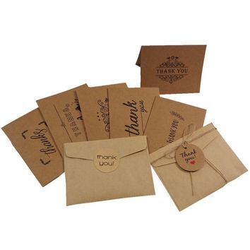 6pcs/lot Rustic Kraft Paper Craft Thank you Card Greeting Cards with Envelopes for Thanksgiving Day Blessing Supplies PM002