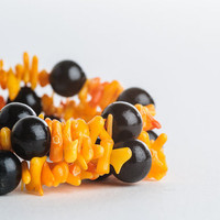 Halloween Black Orange Bracelet Multi Strand Funky Autumn Jewelry