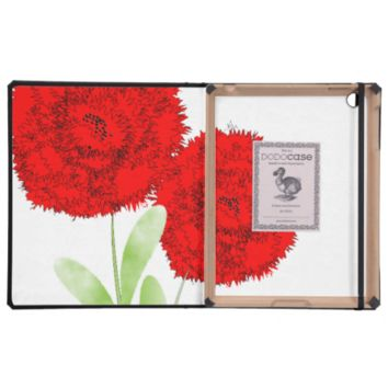 Whimsical Red Pretty Blooming Flowers iPad Case