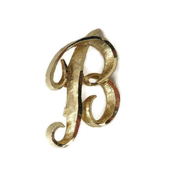 Vintage Letter B Brooch, Mamselle Gold Tone Initial B Pin