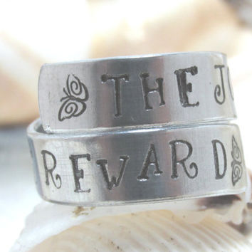 The Journey Is The Reward With Enjoy It On Inside Hand Stamp Adjustable Wrap Ring (417C)