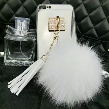 luxury Mirror Phone Case For iphone 5 Case For iphone 5s 5 SE 6 6s Plus 7 7 Plus New Fluffy Fur ball Tassel Soft TPU Phone Cover
