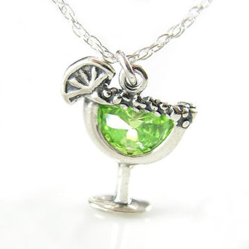 Margarita Charm Necklace Sterling Silver Margarita Glass Necklace Lemon Lime Green CZ Cocktail Drink Cup