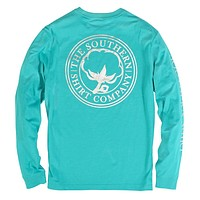 Foil Print Logo Long Sleeve Tee in Ceramic by The Southern Shirt Co. - FINAL SALE