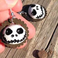 Steampunk Jack earrings - jack skellington inspired - nightmare -gear earrings - jack jewelry -Halloween - christmas- cosplay -gifts for her