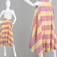 Vintage 70s Wrap Skirt Indian Cotton Summer Skirt Red & Yellow Boho Midi Skirt Tribal Print Skirt High Waisted Skirt Tie Around Skirt Ethnic