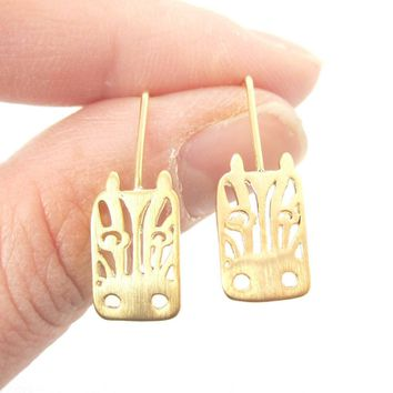 Adorable Zebra Face Shaped Stud Earrings in Gold | Animal Jewelry