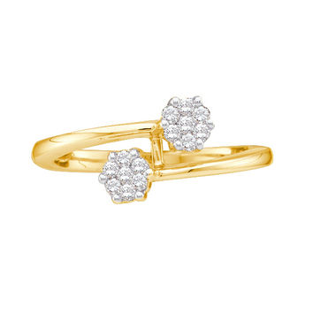Diamond Flower Ring in 14k Gold 0.15 ctw