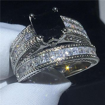 Luxury ring set Princess cut AAAAA Cz Stone White Gold Filled Engagement wedding band rings for women Bridal Jewelry