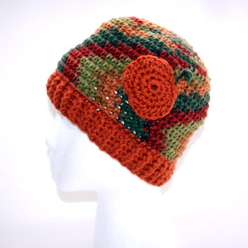 Adult pumpkin accent hat. autumn fall colors of burnt orange, olive green and brown