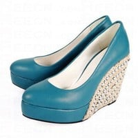 Bqueen Espadrille Patent-Leather BLue Pumps D043L - Women's Shoes - Shoes