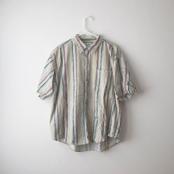 80's Oversized Tribal Stripe Button Up Shirt