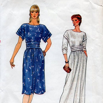 Retro 80s Sewing Pattern Vogue 8737 Classic Cummerbund Waist Cocktail Party Dress Evening Gown Loose Fit Drop Shoulders Bust 34