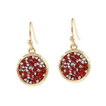2018 New Fashion Harmmed Frame Round Disc Pave resin Crystal Dangle Earrings Various Colors Earrings for women