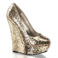 Gold Platform Wedges Glitter