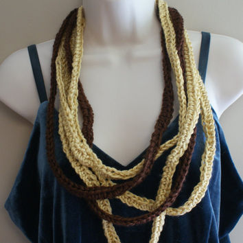 Cowl Scarf, Circle Scarf, Eternity Scarf, Chain Scarf, Noodle Necklace, Crochet Brown Lariat, Modern Loop Scarf