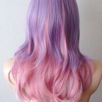 Halloween Special // Mauve / Blush pink / pale pink Ombre wig. Pastel purple /Pink multi-color Lolita hairstyle. Daily wearing / Cosplay wig