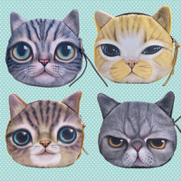 Cute Cartoon Cat Face Coin Purse Zipper Bag  Wallet Case Pouch Clutch Gift  D_L = 1713281348