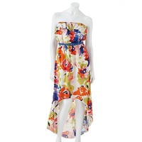 Trixxi Floral Hi-Low Strapless Dress - Juniors
