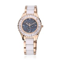 ZLYC Women's Luxury Rhinestone-studded Ceramic Ladies Watch (C)