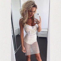 Cut Out Mesh Spaghetti Strap Mini Dress