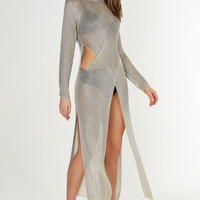 Lightning Strikes Metallic Maxi Dress