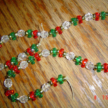Set of 2 green ornaments red  crystal gold accents OOAKHandmade ornament