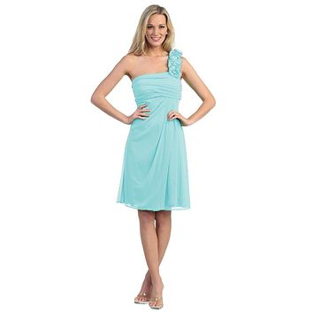 One Shoulder Knee Length Mint Chiffon Bridesmaid Dress