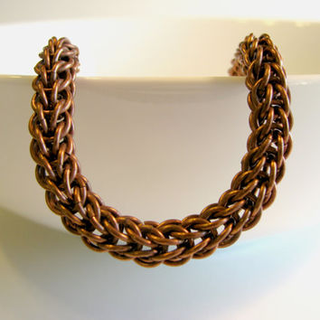 Rustic Copper Bracelet, Chainmaille Bracelet, Fall Fashion for Her, Unique Gift, Women's Fashion, Fall Gift Guide, Handmade Accessories