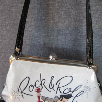 Rock and Roll Purse, Rockabilly Handbag, Linen  Fabric, Embroidery Letters Symbols, Black Patent Leather,  Plastic Covered,  Vintage