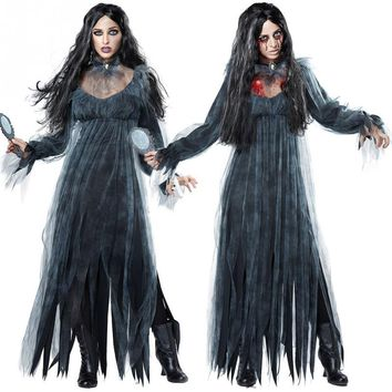 Halloween Cosplay Costumes Scary Vampire Zombies Costume for Women Ghost Bride Carnival Masquerade Costume Black Fancy Dress