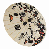 Butterfly Garden Natural Paper Parasol - Unique Vintage - Cocktail, Evening  Pinup Dresses