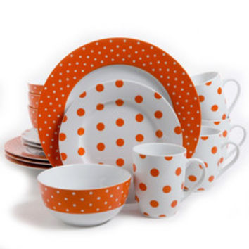 Isaac Mizrahi Dot Luxe 16 pc Porcelain Dinnerware Set- Orange