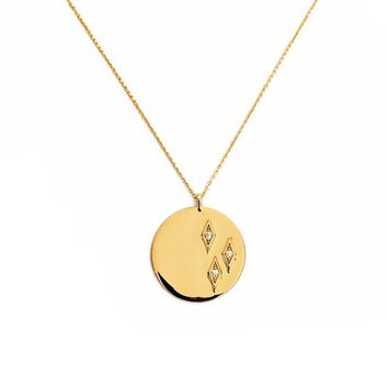Elizabeth Stone | Geo Diamond Coin Pendant Necklace