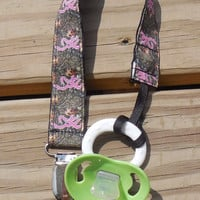 Pink Browning Pacifier Holder, Ribbon Pacifier Holder, Camouflage Ribbon Pacifier Holder, Binky or Toy Clip