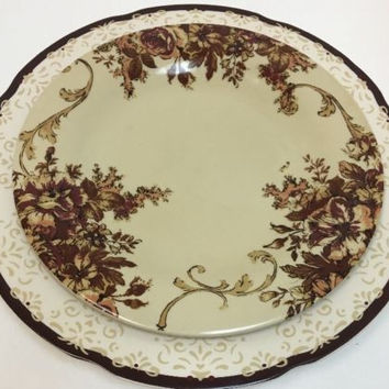 Country Living Faded Antique Vintage Classic Style Stoneware Dinner Salad Plate
