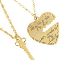 Gold Tone Metal Heart Key Pendant Necklace Key to My Heart Sweetheart Couples Set Made Usa