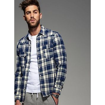 Autumn Style Long Sleeve Blue Plaid Flannel Shirt Men Blouse Casual Cotton Check Shirt Male  Home