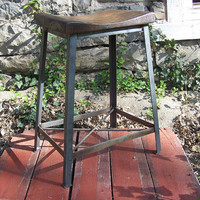 Industrial Chic Reclaimed Wood Saddle Stools