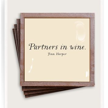 Partners In Wine Copper & Glass Coasters, Set of 4