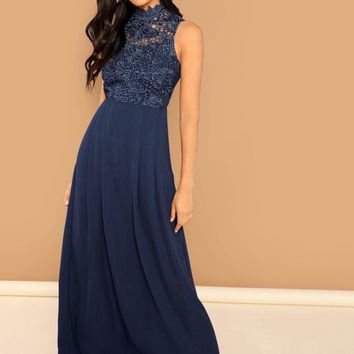 Guipure Lace Top Flowy Maxi Prom Dress