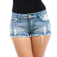 Mod Luv Women's Lace Pocket Destroyed Shorts
