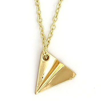 Paper Airplane Necklace Retro Gold Tone NY19 Plane Pendant Fashion Jewelry