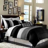 "Amazon.com: 8 Pieces Black White Grey Luxury Stripe Comforter (86""x88"") Bed-in-a-bag Set Full or Double Size Bedding: Home & Kitchen"