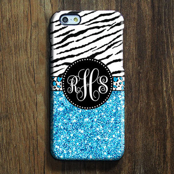 Blue Glitter Monogram iPhone 6s Case iPhone 6 plus Case Custom iPhone 5S Case iPhone 5C Case iPhone 4S Case Galaxy S6 Edge Case 109