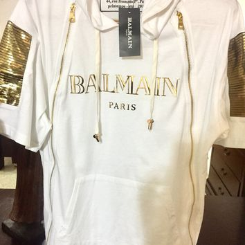Balmain T Shirt Hoodie 'Size Eu. 2XL' (Exclusive Gold Ribbed Designs!!) Must See!!